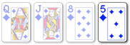 1 card badugi hand with suited cards