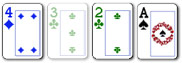 3 card badugi hand with suited cards