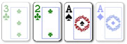 2 card badugi hand with suited and paired cards