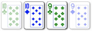 2 card badugi hand with two pairs